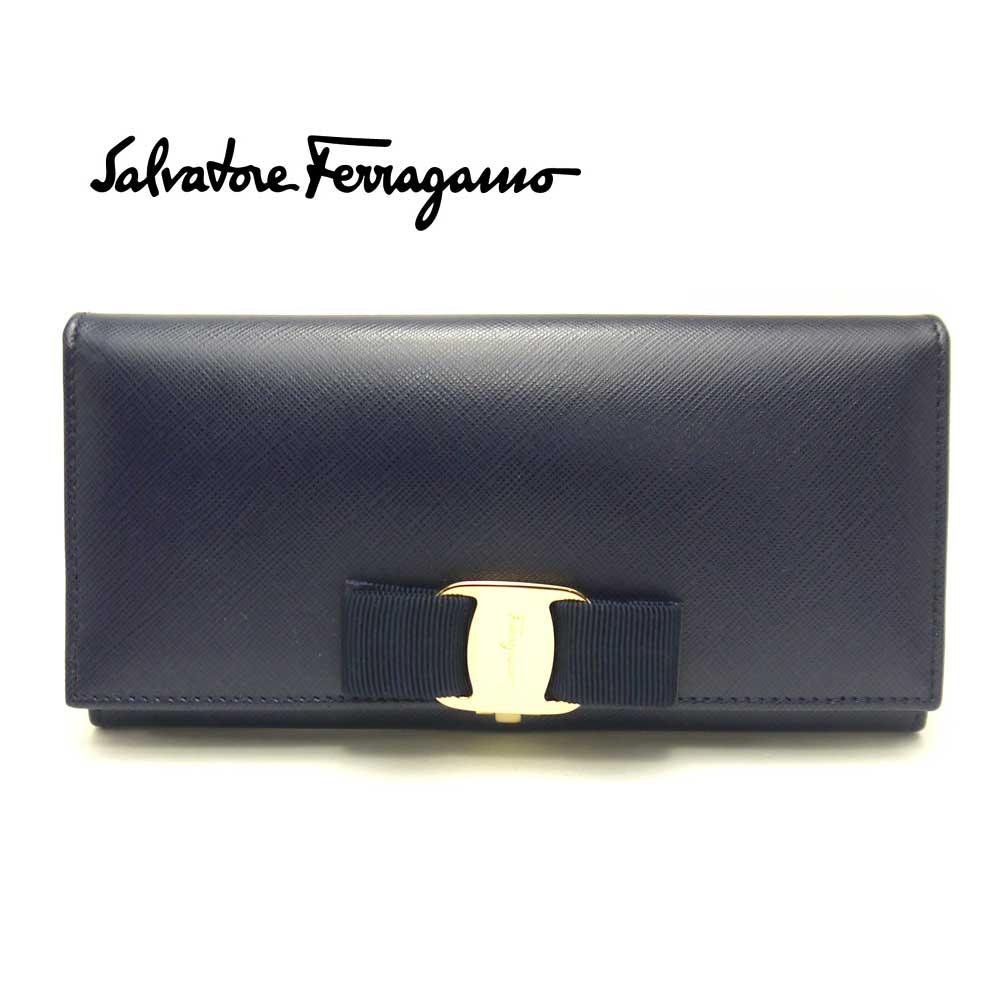 【新品】フェラガモ/Salvatore Ferragamo レディース ファスナー長財布・22-A900 MIRTO ネイビー【即発送可能】