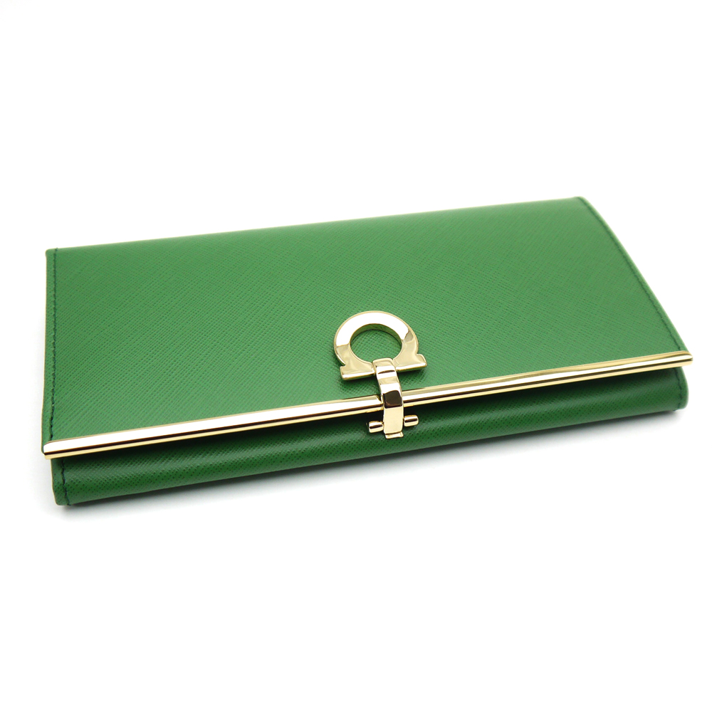 菲拉格慕 /Salvatore 菲拉格慕拉链钱包-22-4633 AMAZZONIA 绿色