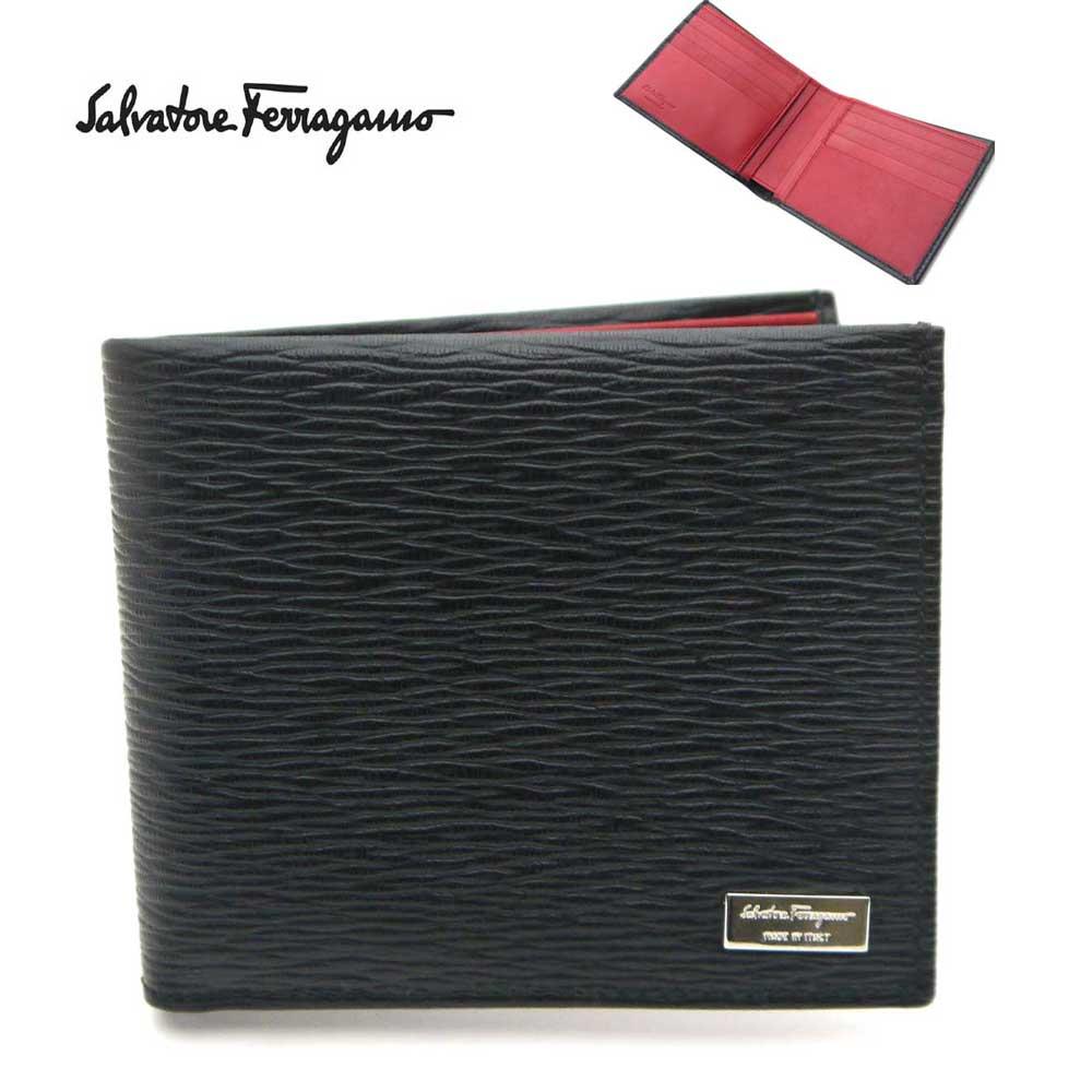 【新品】フェラガモ/Salvatore Ferragamo 二つ折りメンズ財布 66-7068 NERO ブラック×内側レッド 【即発送可能】