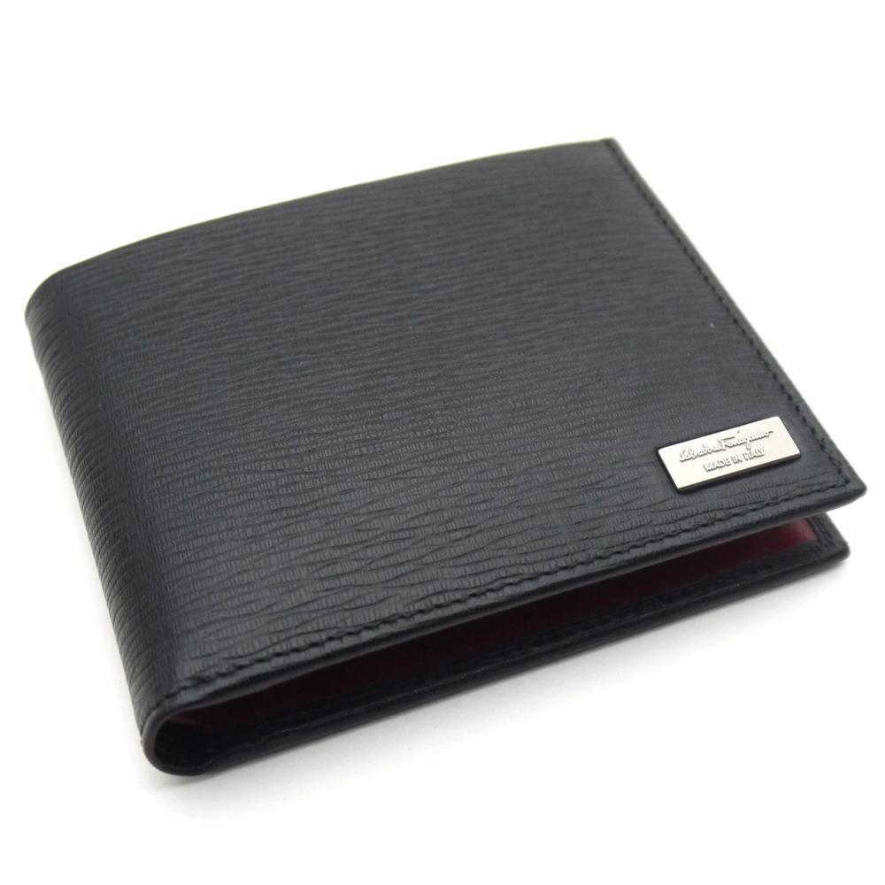 Ferragamo /Salvatore Ferragamo two fold card wallet 66-9965 NERO black / wine red