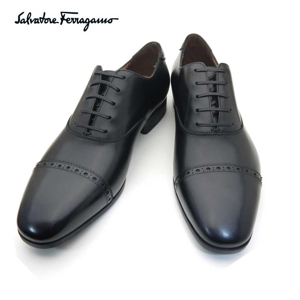 フェラガモ/Salvatore Ferragamo メンズ シューズ 靴 レースアップ ストレートチップ BOSTON 0669089 NERO ブラック 【即発送可能】
