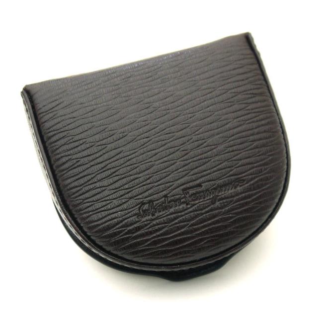 .66-7042 Ferragamo /Salvatore Ferragamo horse's hoof type coin purse FONDENTE dark brown