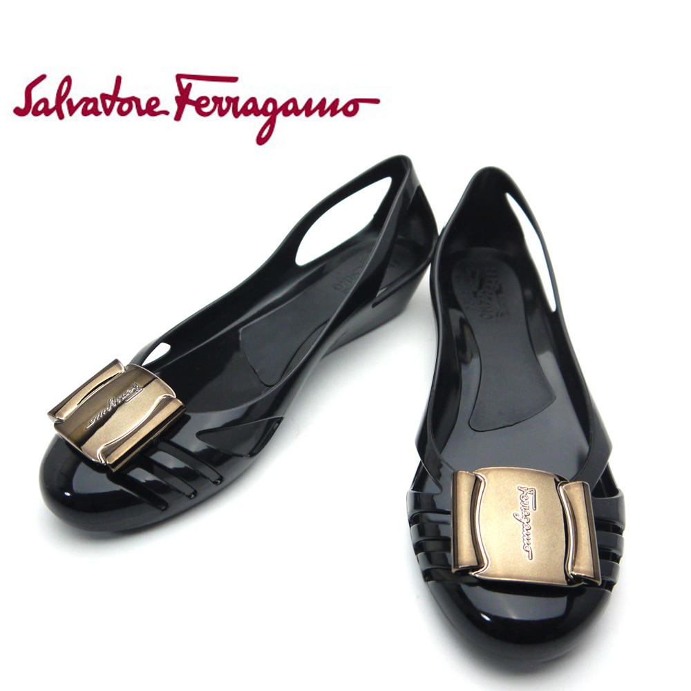 菲拉格慕 /Salvatore 菲拉格慕女裝鞋橡膠鞋百慕達 0495200 黑色