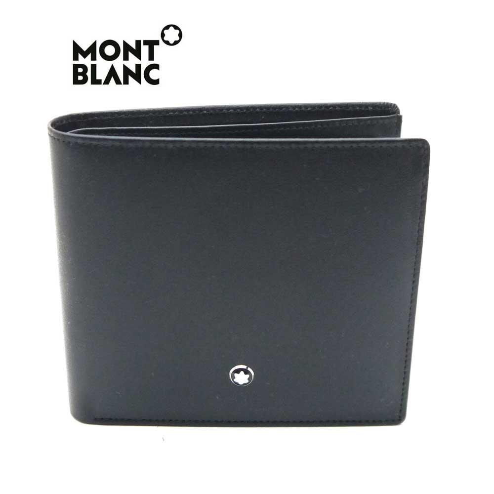 モンブラン/MONT BLANC 小銭入れ付き二つ折り財布  7164・ブラック