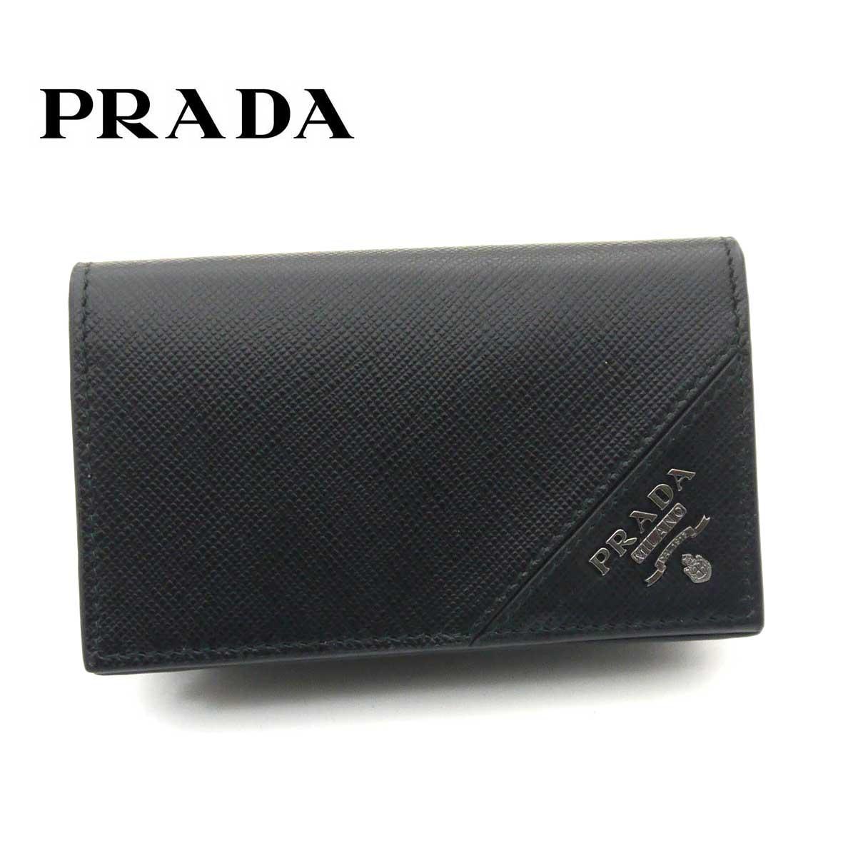 プラダ/PRADA カードケース 名刺入れ サフィアーノ トライアングル 2MC122 QME F0002 ブラック【即発送可能】
