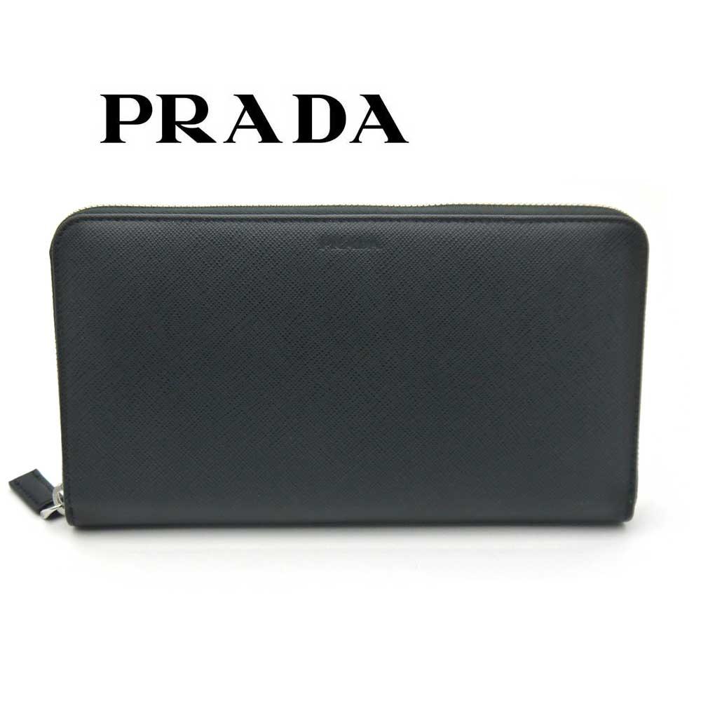 プラダ/PRADA メンズ ラウンドファスナー長財布 サフィアーノ 2ML188 053 F0002 ブラック【即発送可能】