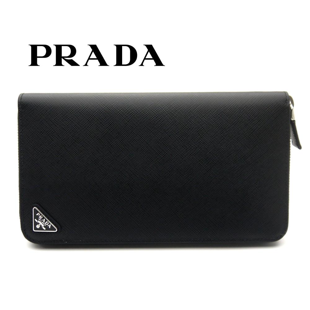プラダ/PRADA メンズ ラウンドファスナー長財布 サフィアーノ 2ML188 QHH F0002 ブラック【即発送可能】