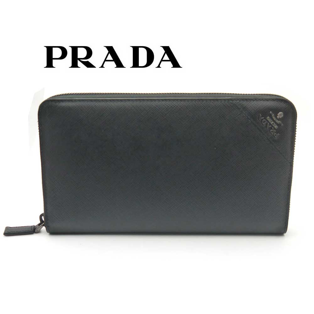 プラダ/PRADA メンズ ラウンドファスナー長財布 サフィアーノ 2ML188 QME F0002 ブラック【即発送可能】