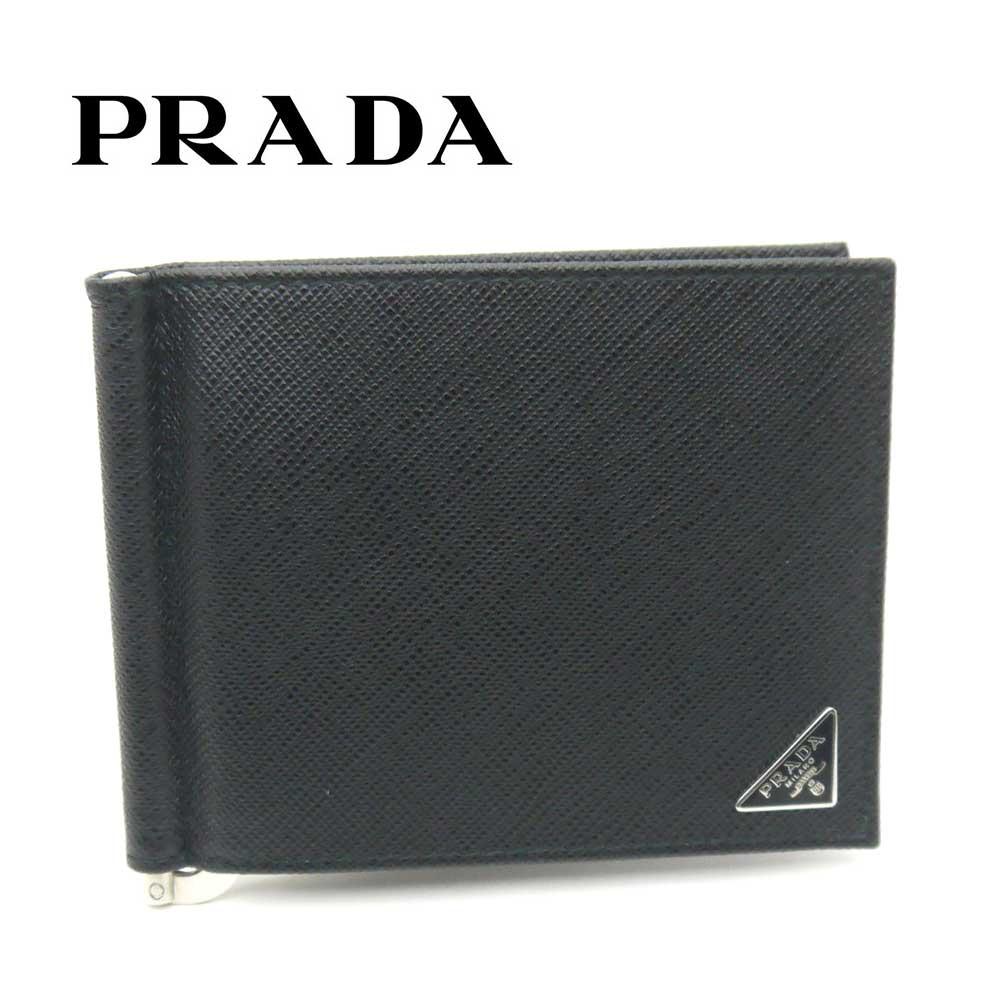 プラダ/PRADA マネークリップ 財布 サフィアーノ トライアングル 2MN077 QHH F0002 ブラック【即発送可能】