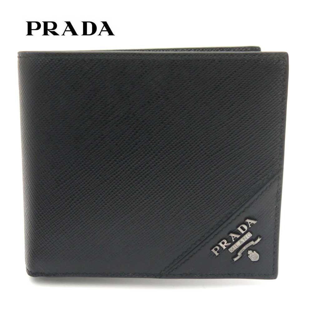 プラダ/PRADA メンズ 小銭入れ付き二つ折り財布 ウォレット サフィアーノ メタル 2MO738 QME F0002 ブラック