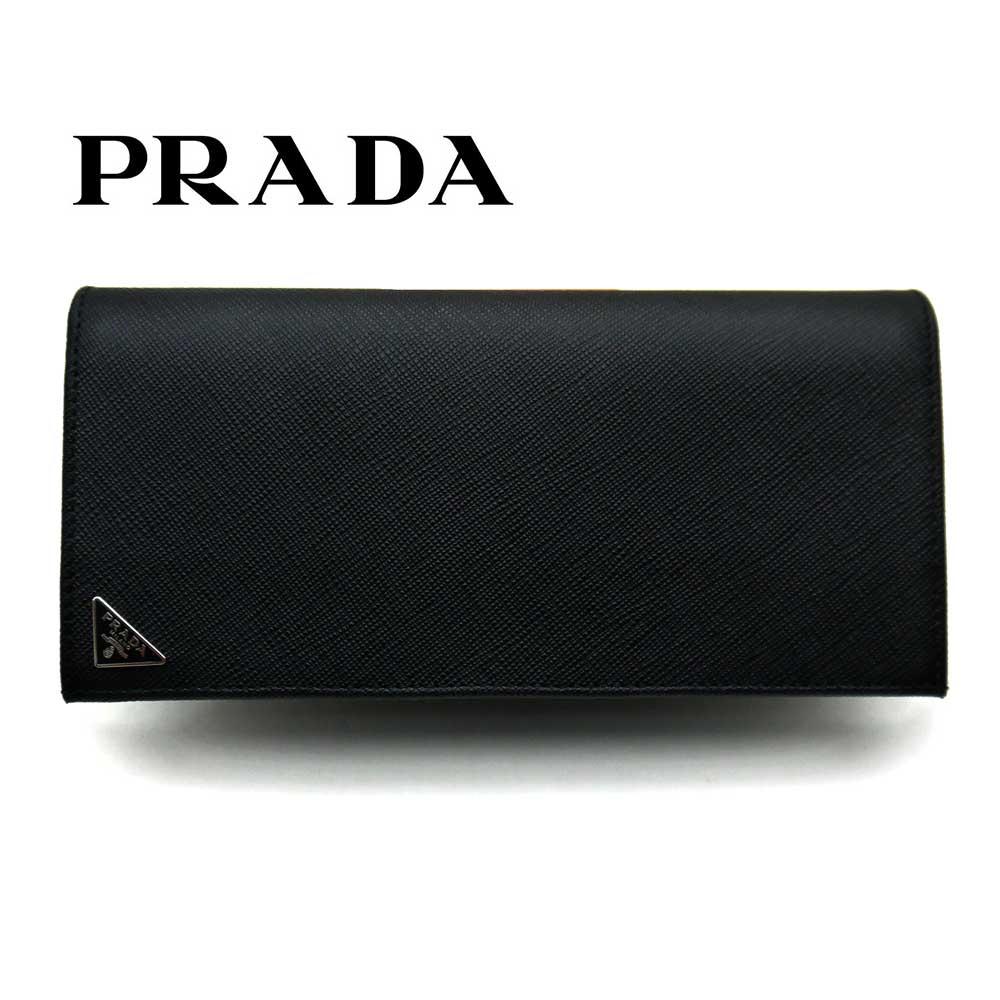 プラダ/PRADA メンズ ファスナー付長財布 サフィアーノトライアングル 2MV836 QHH F0002 ブラック【即発送可能】