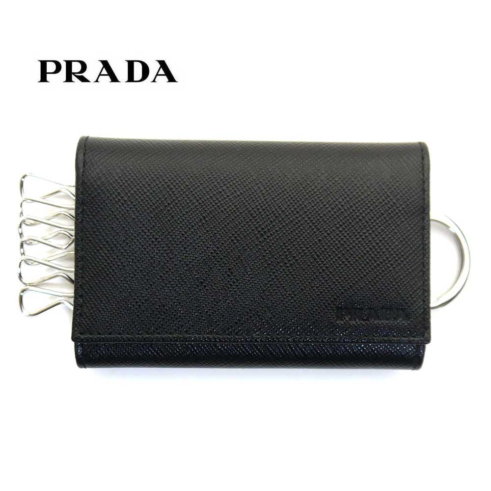 プラダ/PRADA 6連キーケース サフィアーノ 2PG002 053 F0002 ブラック【即発送可能】