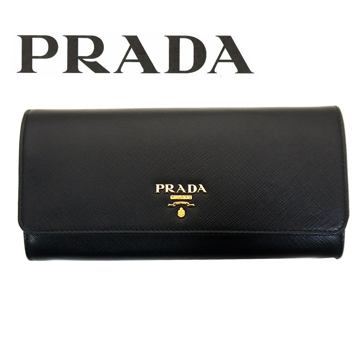 プラダ/PRADA レディース パスケース付き長財布 サフィアーノ 1MH132 QWA F0002 ブラック ゴールド金具【即発送可能】