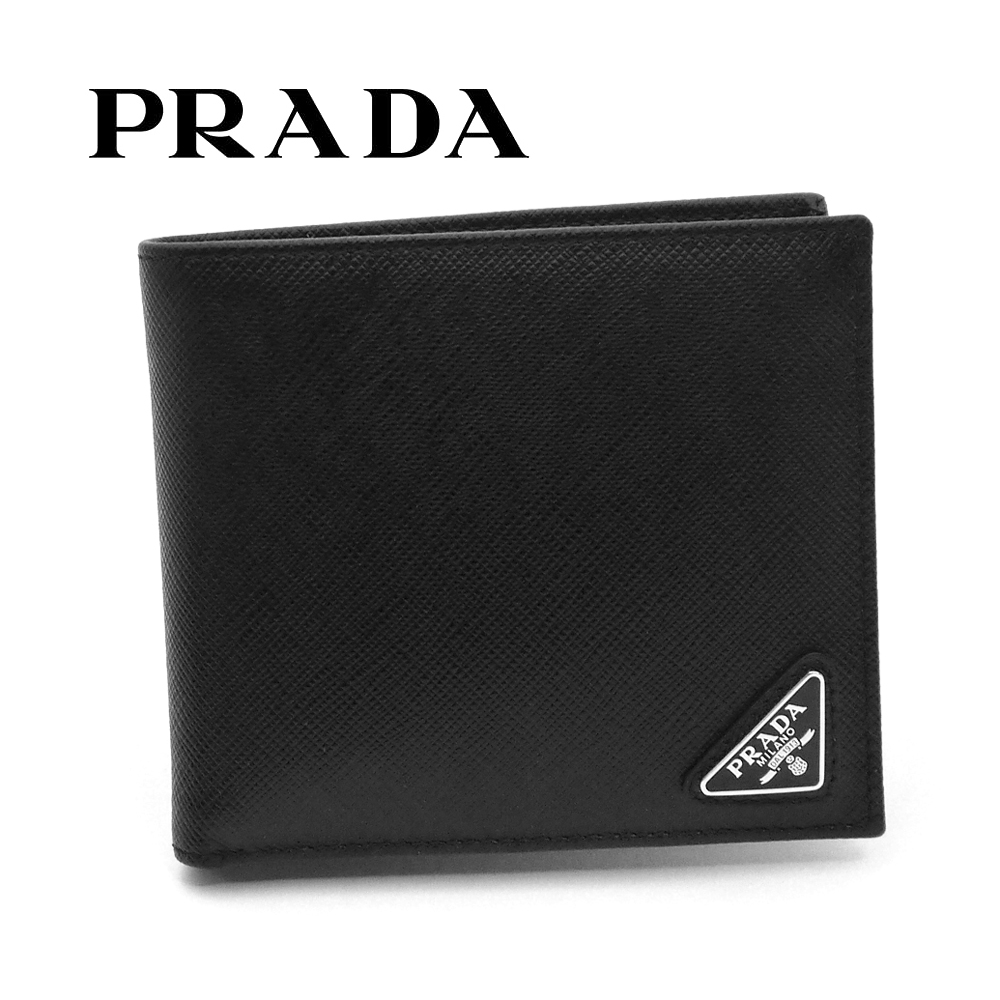 新品 毎日激安特売で 営業中です 70%OFFアウトレット 送料無料 プラダ PRADA メンズ 小銭入れ付き二つ折り財布 ウォレット ブラック トライアングル 2MO738 F0002 QHH サフィアーノ 即発送可能
