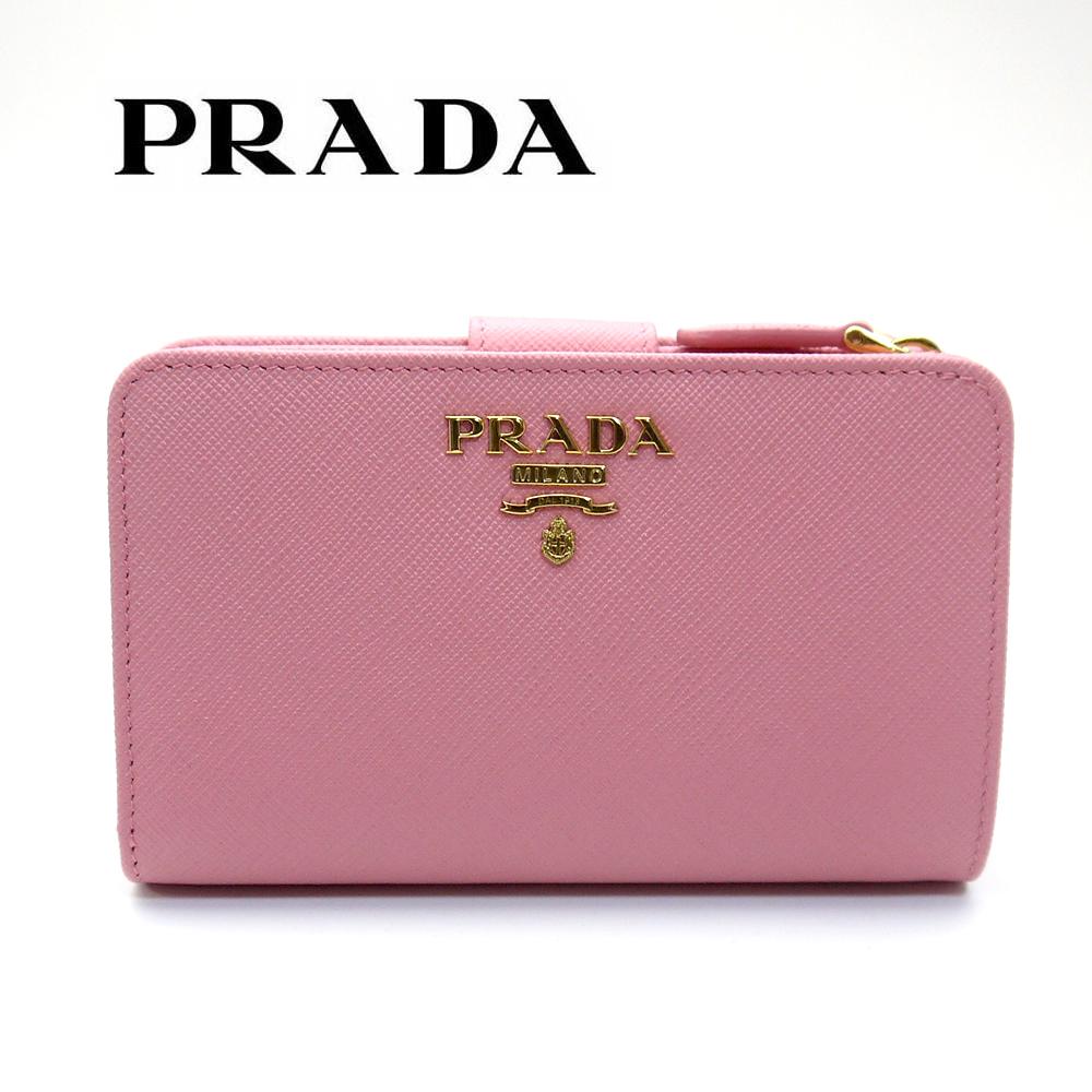 プラダ/PRADA レディース 二つ折り財布 サフィアーノ SAFFIANO METAL 1ML225 QWA F0442 PETALO ピンク