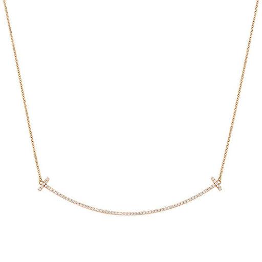 【送料無料】ティファニー TIFFANY&CO 34946086 Tiffany T スマイル ペンダント ネックレス 18KRG×ダイアモンド 41cm~46cm