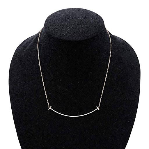 328230948 ... Tiffany TIFFANY&CO 34946086 Tiffany T smile pendant necklace 18KRG  X diamond 41cm - 46cm ...