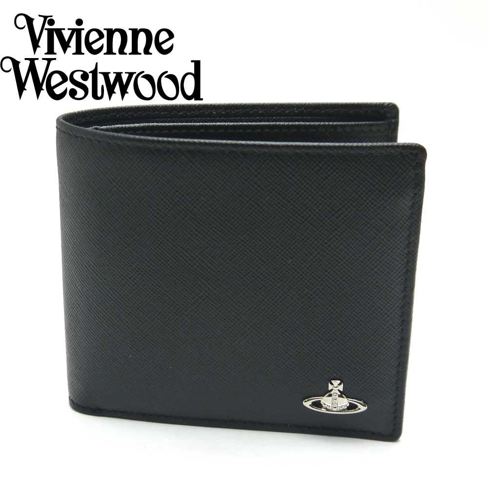 Vivienne Westwood/ヴィヴィアンウエストウッド 二つ折り小銭入れ付財布 メンズ ブラック