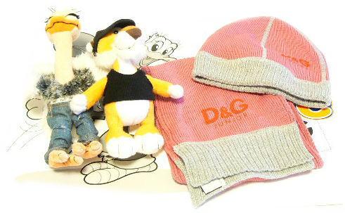 【即出荷可能】【新品】D&G(ディーアンドジー) ニット帽&マフラー&ぬいぐるみx2・キッズセット・ピンク・SとL