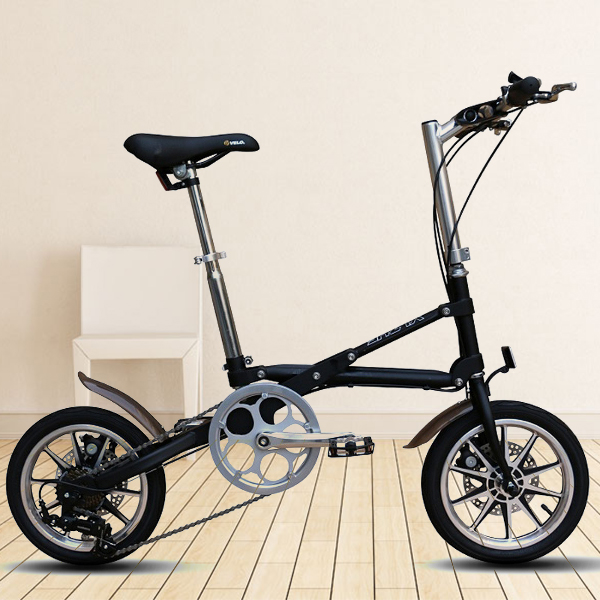 【送料無料】自転車 14インチ シマノ7段変速機 折りたたみ ライト スタンド 自転車【YZBS】