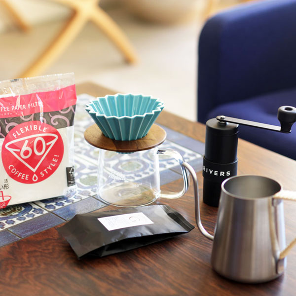 すてきなじかん おうちカフェ スターターセットVol.2ORIGAMI dripper×RIVERS Grit×GSP TSUBAME Drip Potセットギフト対応可◎送料無料ギフト コーヒーミル ドリッパーセット コーヒー豆付 プレゼント おまけつき オリガミ
