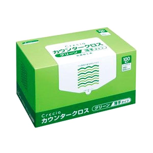 【法人・企業様限定販売】[sss]○お取り寄せ商品 クレシア カウンタークロス薄手 グリーン 100枚 100枚×6ボックス 10999