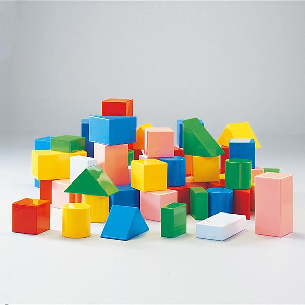 積み木 カラフルな積木ブロック つみきちゃん・大セット(63個組・6cm基尺)収納ケース付 送料無料