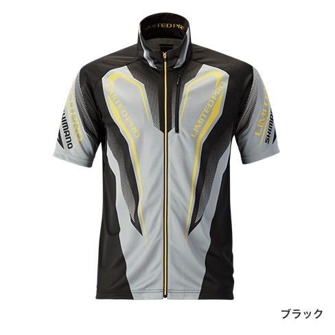 シマノ ウィックテックス-℃ フルジップ リミテッドプロシャツ (半袖) SH-012R ブラック XL(LL)サイズ (送料無料) (S01) / セール対象商品 (7/2(月) 12:59まで)