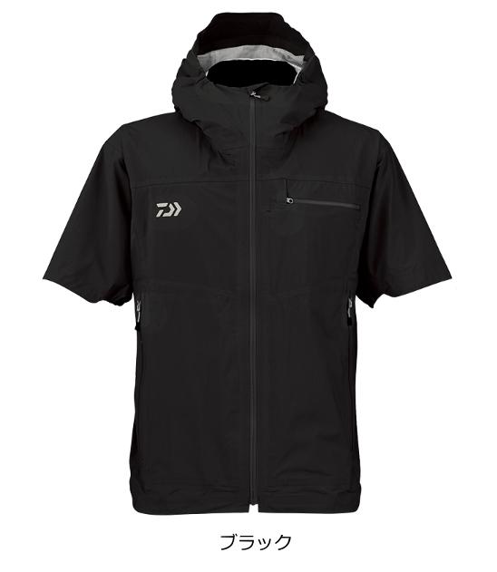 ダイワ レインマックス(R) ポケッタブル ショートスリーブ レインジャケット DR-2308J ブラック Lサイズ / レインウェア (送料無料) (O01) (D01)