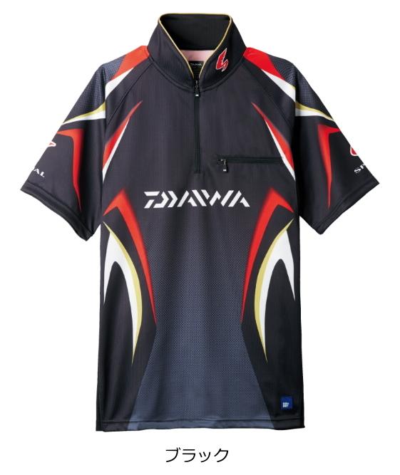 ダイワ スペシャル アイスドライ(R) ジップアップ半袖メッシュシャツ DE-7107 ブラック Mサイズ (送料無料) (O01) (D01)