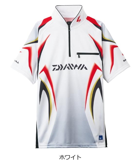 ダイワ スペシャル アイスドライ(R) ジップアップ半袖メッシュシャツ DE-7107 ホワイト XL(LL)サイズ (送料無料) (O01) (D01)