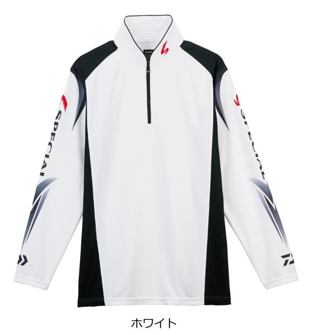 ダイワ スペシャル ウィックセンサー(R) ジップアップ長袖メッシュシャツ DE-7207 ホワイト Lサイズ (送料無料) (O01) (D01)