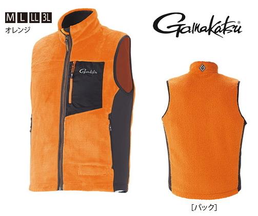がまかつ ボアフリースベスト GM-3527 オレンジ Mサイズ (お取り寄せ商品)