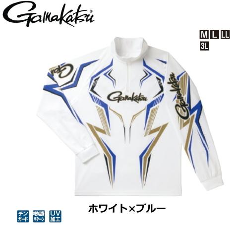 がまかつ 2WAYプリントジップシャツ(長袖) GM-3540 ホワイト×ブルー LLサイズ / ウエア フィッシング (送料無料)