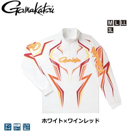 がまかつ 2WAYプリントジップシャツ(長袖) GM-3540 ホワイト×ワインレッド Mサイズ / ウエア フィッシング (送料無料) / セール対象商品 (4/1(月)12:59まで)