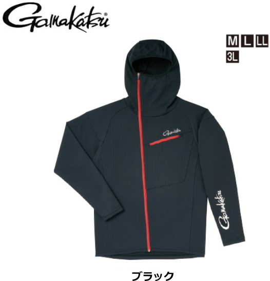 がまかつ フーデッドジップシャツ GM-3566 ブラック 3Lサイズ / ウエア (お取り寄せ商品) (送料無料)