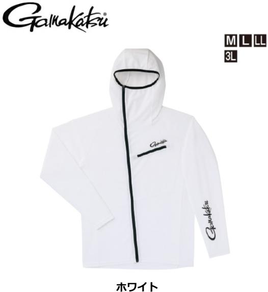 がまかつ フーデッドジップシャツ GM-3566 ホワイト Lサイズ / ウエア (お取り寄せ商品) (送料無料)