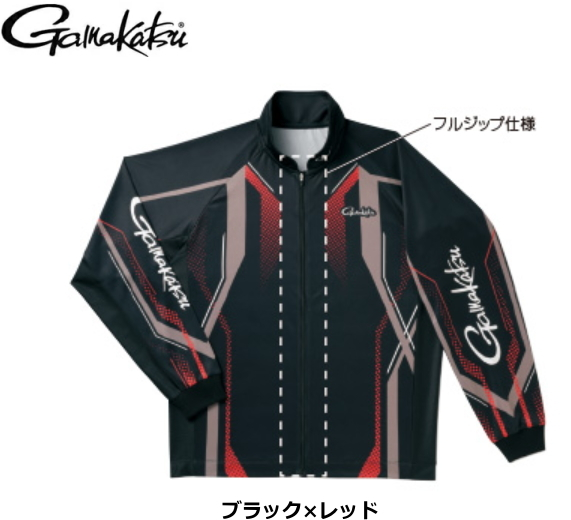 がまかつ フルジップトーナメントシャツ GM-3569 ブラック×レッド 5Lサイズ / ウエア (送料無料) / (お取り寄せ商品)