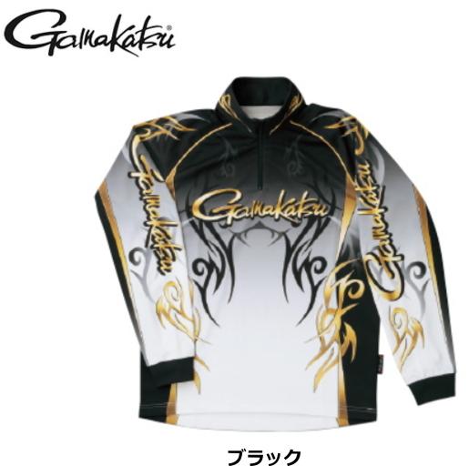 がまかつ 2WAYプリントジップシャツ(長袖)GM-3531 ブラック Lサイズ / ウエア (送料無料) / (お取り寄せ商品)
