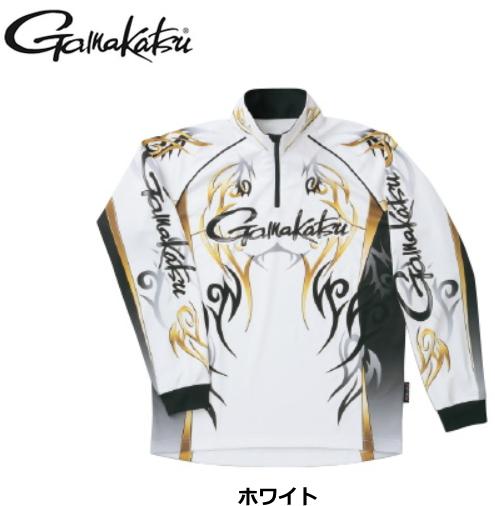 がまかつ 2WAYプリントジップシャツ(長袖)GM-3531 ホワイト LLサイズ / ウエア (送料無料) / (お取り寄せ商品)