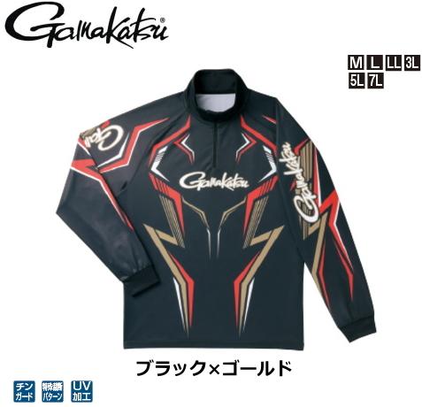 がまかつ 2WAYプリントジップシャツ(長袖) GM-3540 ブラック×ゴールド 7Lサイズ / ウエア フィッシング (送料無料) / (お取り寄せ商品)