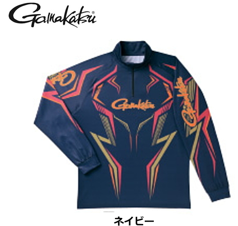 がまかつ 2WAYプリントジップシャツ(長袖) GM-3540 ネイビー LLサイズ / ウエア フィッシング (送料無料) / (お取り寄せ商品)