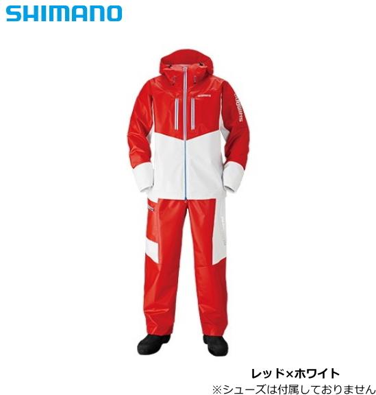 シマノ マリンライトスーツ RA-034N レッド×ホワイト 3XL(4L)サイズ / レインウエア (送料無料)