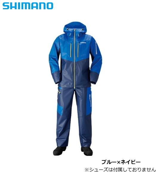 シマノ マリンライトスーツ RA-034N ブルー×ネイビー Lサイズ / レインウエア (送料無料)