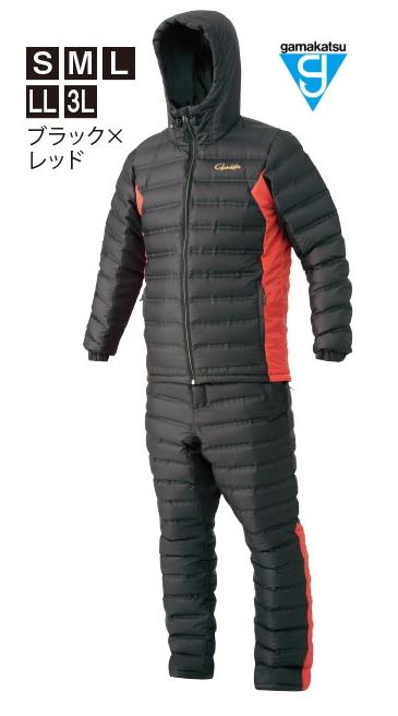 がまかつ ダウンスーツ GM-3605 ブラック×レッド Lサイズ / 防寒着 ウェア (お取り寄せ商品) (送料無料) / セール対象商品 (12/26(木)12:59まで)