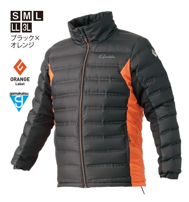 がまかつ ダウンジャケット GM-3606 ブラック×オレンジ Sサイズ / 防寒着 ウェア (お取り寄せ商品) (送料無料) / セール対象商品 (12/26(木)12:59まで)