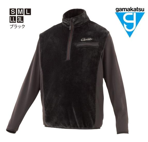 がまかつ ボアフリースハーフジップシャツ GM-3614 ブラック Mサイズ / ウェア (お取り寄せ商品) (送料無料) / セール対象商品 (12/26(木)12:59まで)