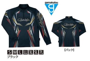 がまかつ 2WAYプリントジップシャツ (長袖) GM-3616 ブラック Mサイズ / ウェア (お取り寄せ商品) (送料無料)