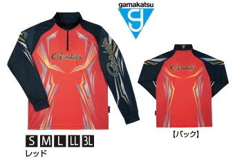 がまかつ 2WAYプリントジップシャツ (長袖) GM-3616 レッド Mサイズ / ウェア (お取り寄せ商品) (送料無料)