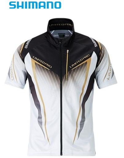 シマノ フルジップシャツ リミテッドプロ (半袖) SH-012S ホワイト Lサイズ (S01) (O01) (送料無料) (セール対象商品)